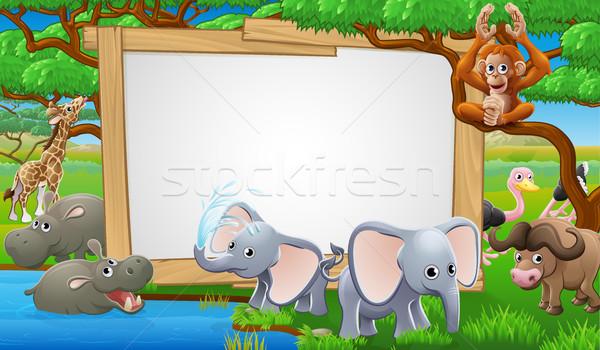 Safari dieren cartoon teken cute bos kinderen Stockfoto © Krisdog