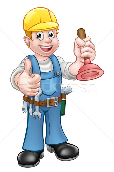 Plumber Handyman Holding Plunger Stock photo © Krisdog