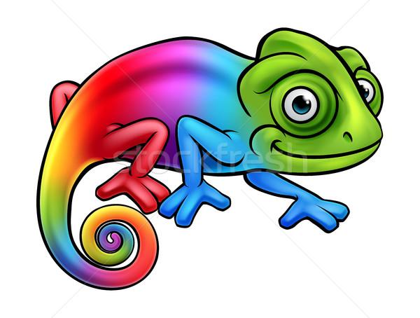 漫画 彩虹 变色龙 蜥蜴 字符 吉祥物 商业照片 krisdog
