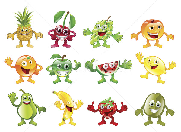 Coloré fruits personnage mascottes heureux Photo stock © Krisdog