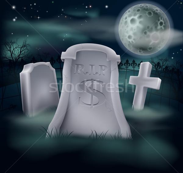 Dólar grave cemitério cifrão economia financeiro Foto stock © Krisdog