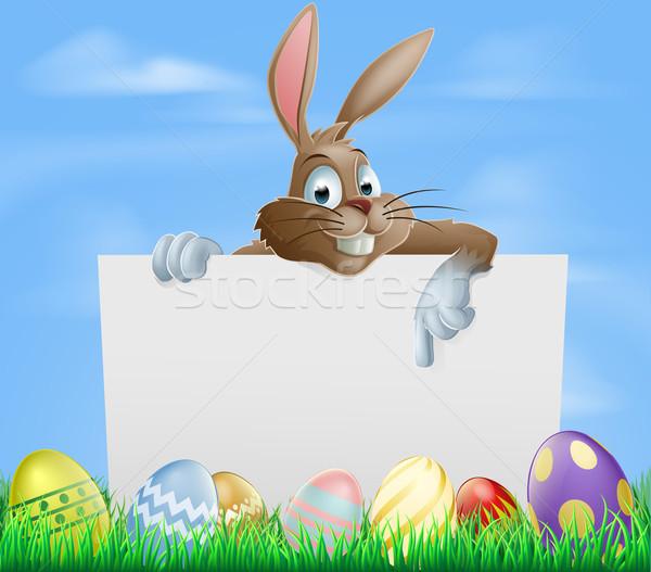 Stockfoto: Chocolade · paaseieren · teken · Easter · Bunny · wijzend
