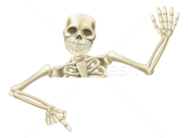 Halloween skeleton pointing Stock photo © Krisdog