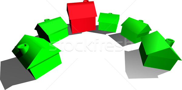 Illustration hôtel maisons rouge vert rangée Photo stock © Krisdog