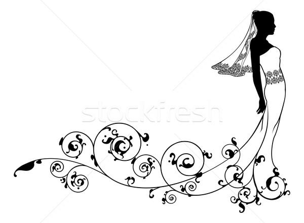 Bride wedding fashion silhouette Stock photo © Krisdog