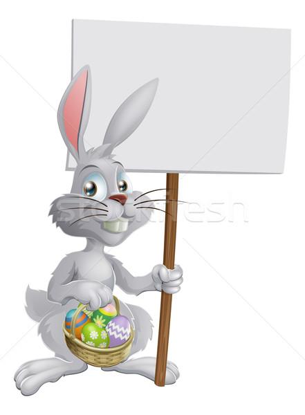 Conejo de Pascua huevos signo blanco cesta Foto stock © Krisdog