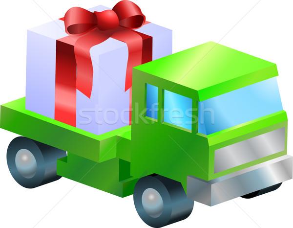 Lastwagen LKW Geschenk Illustration tragen Warenkorb Stock foto © Krisdog