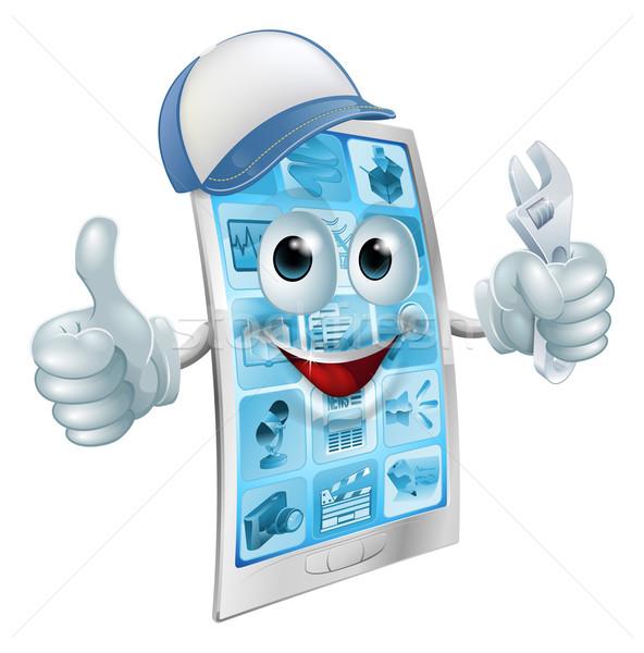 Сток-фото: мобильных · ремонта · характер · Cartoon · мобильного · телефона · талисман