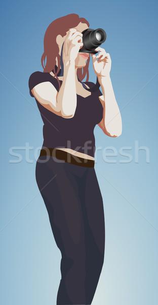 Foto stock: Fotógrafo · ilustração · mulher · menina
