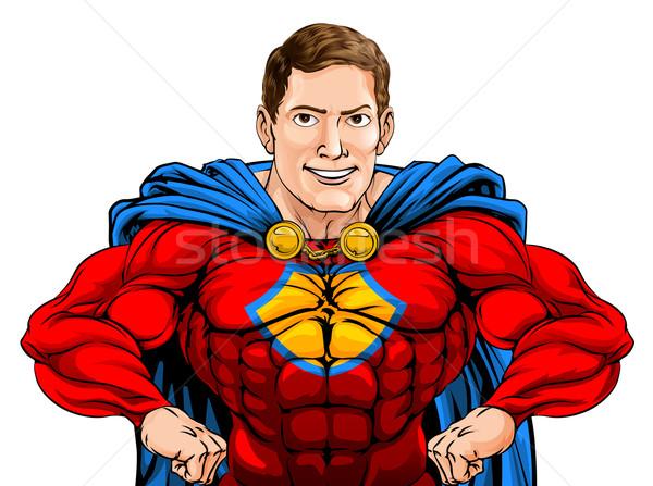 Superhero иллюстрация жесткий Cartoon характер рук Сток-фото © Krisdog