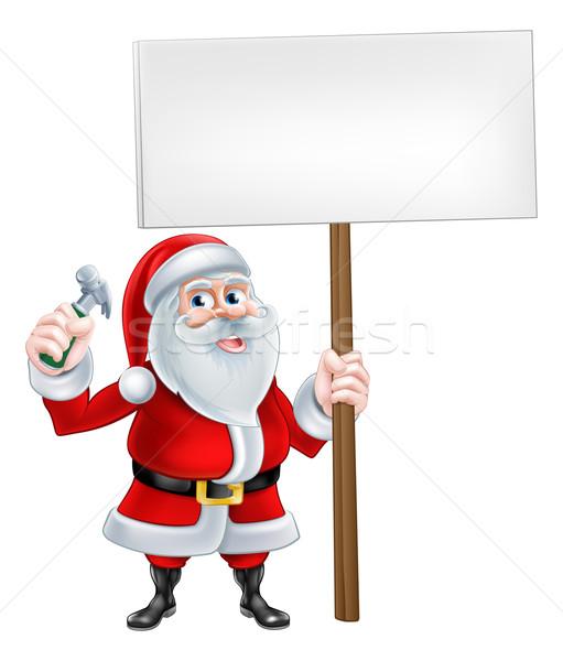 Santa Handyman Sign Stock photo © Krisdog