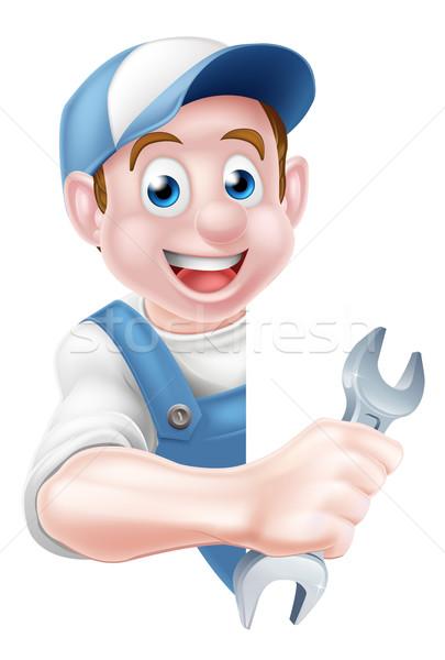 Mechanic Cartoon Plumber Man Stock photo © Krisdog