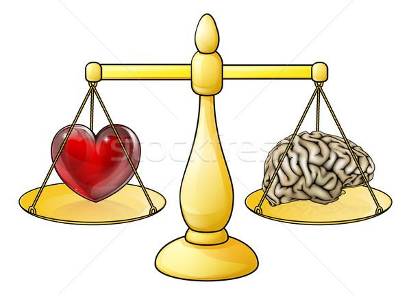 Cervello cuore scale simboli logica famiglia Foto d'archivio © Krisdog