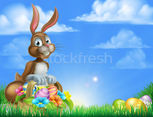 Easter Bunny ei jacht cartoon Pasen scène Stockfoto © Krisdog