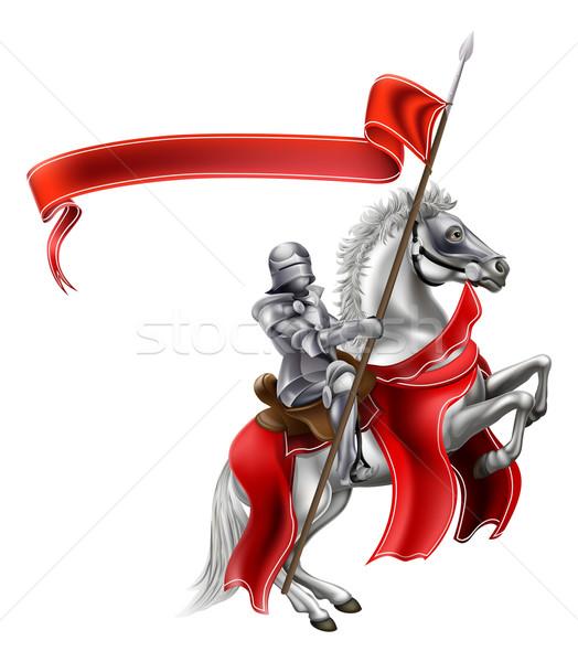 Zdjęcia stock: średniowiecznej · banderą · rycerz · konia · zbroja