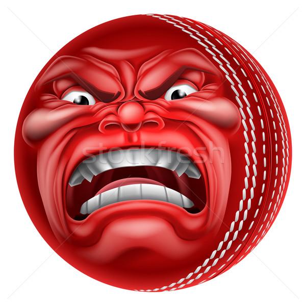 Angry Ball Cricket Sports Cartoon Mascot Stock photo © Krisdog