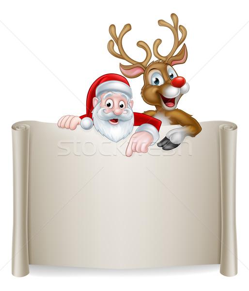 Christmas Santa Reindeer Scroll Background Stock photo © Krisdog