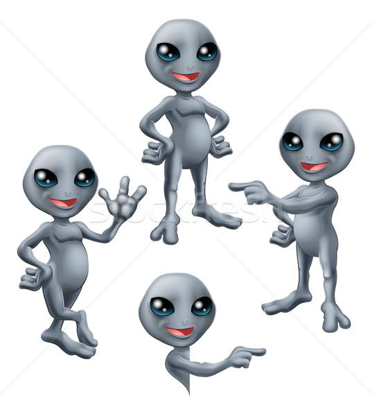 Desenho animado cinza alienígena conjunto bonitinho Foto stock © Krisdog
