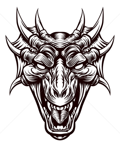 Dragon Demon Monster Head Face Stock photo © Krisdog