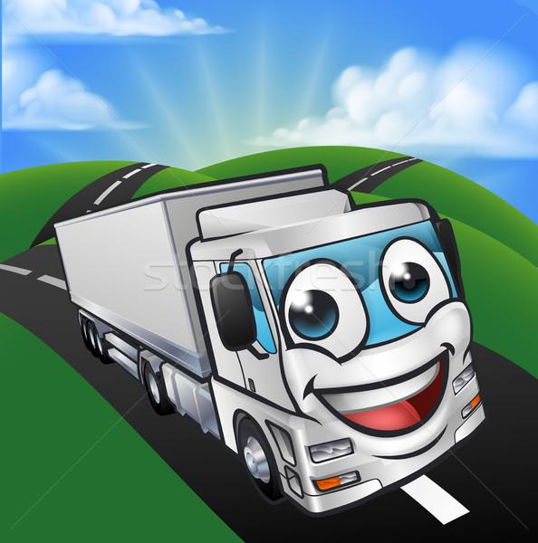 Cartoon Truck Lorry Mascot Character scene Stock photo © Krisdog