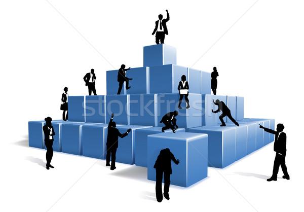 üzletemberek sziluettek csapatépítés kockák emberek üzleti csapat Stock fotó © Krisdog
