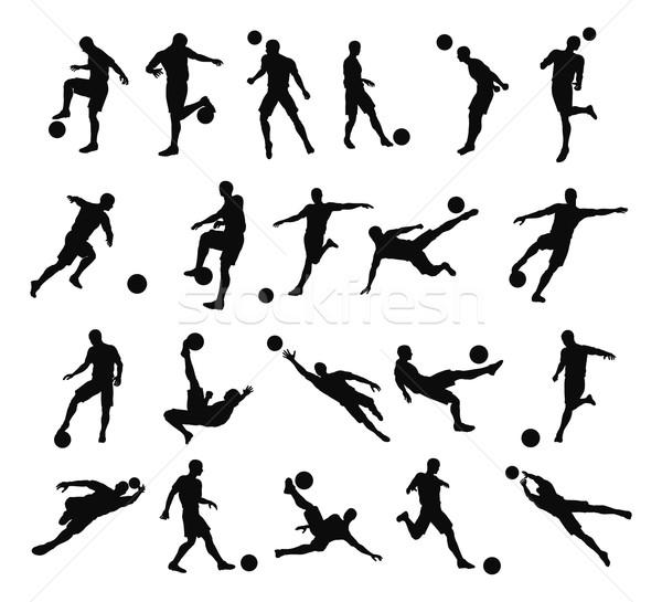 Soccer football player silhouettes Stock photo © Krisdog