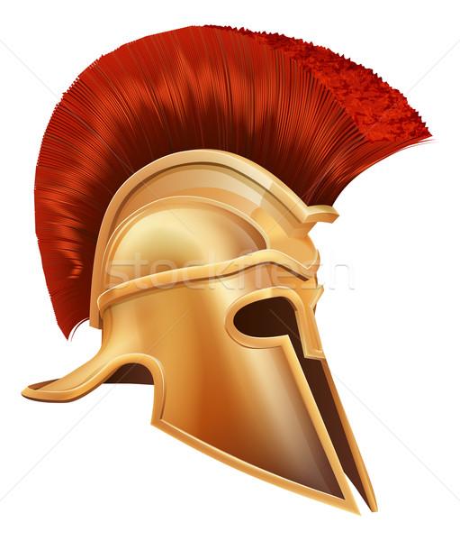 Alten griechisch Krieger Helm Illustration spartanisch Stock foto © Krisdog