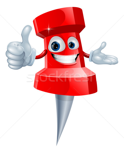Dibujo pin hombre Cartoon rojo sonriendo Foto stock © Krisdog