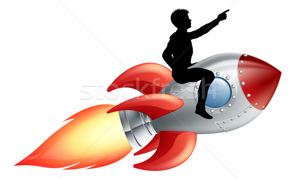 Businessman riding rocket ship Stock photo © Krisdog