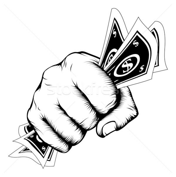 Stockfoto: Hand · vuist · cash · illustratie · retro-stijl