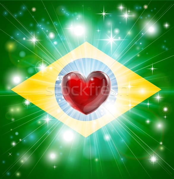 Love Brazil flag heart background Stock photo © Krisdog