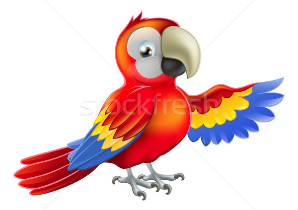 Red pointing cartoon parrot Stock photo © Krisdog