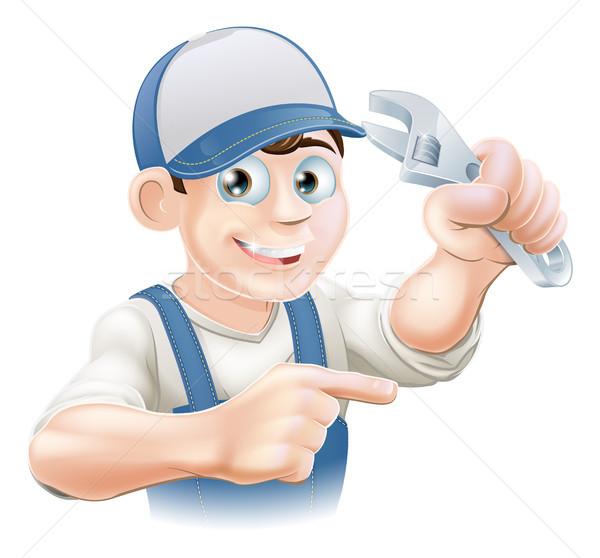 механиком водопроводчика иллюстрация Cartoon гаечный ключ Сток-фото © Krisdog