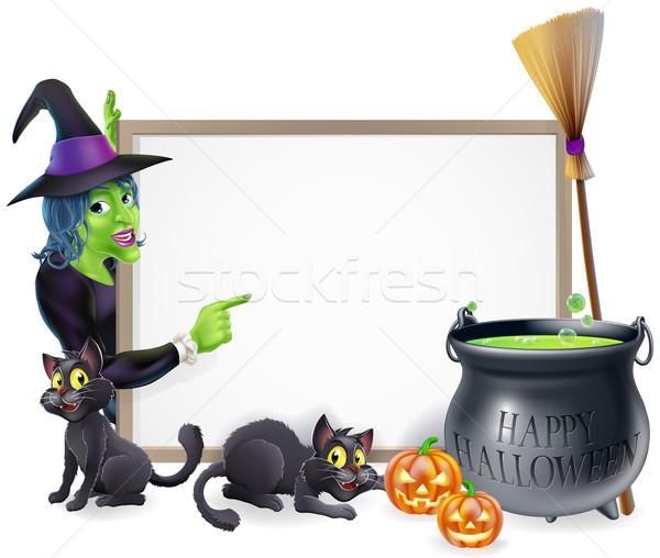 Cartoon Witch Halloween Sign Stock photo © Krisdog