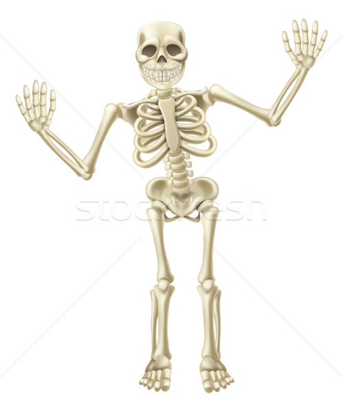 Cartoon Waving Skeleton Character Stock photo © Krisdog