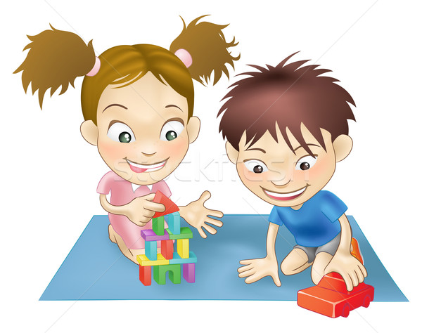 Stock photo: two children playing