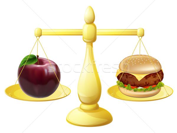 Egészséges étkezés mérleg döntés alma hamburger szett Stock fotó © Krisdog