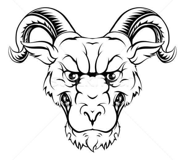 Widder Maskottchen Zeichen Illustration Sport Tier Stock foto © Krisdog