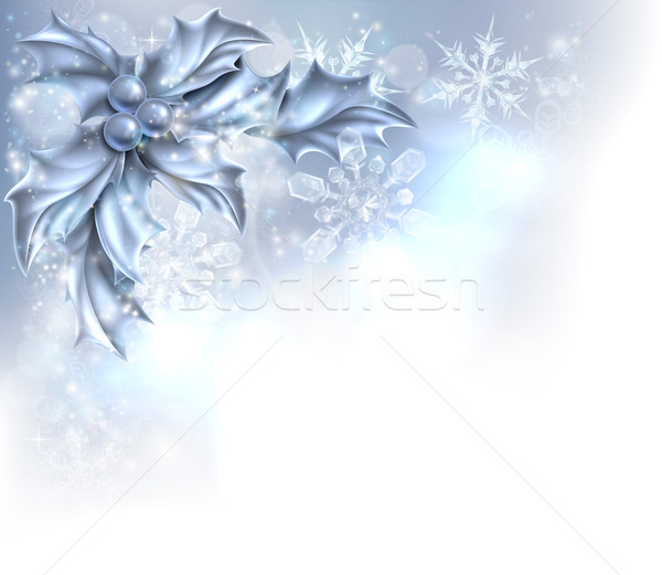 Abstract Silver Christmas Holly Background Stock photo © Krisdog