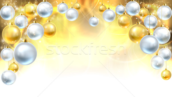 Gold and Silver Christmas Baubles Background Stock photo © Krisdog
