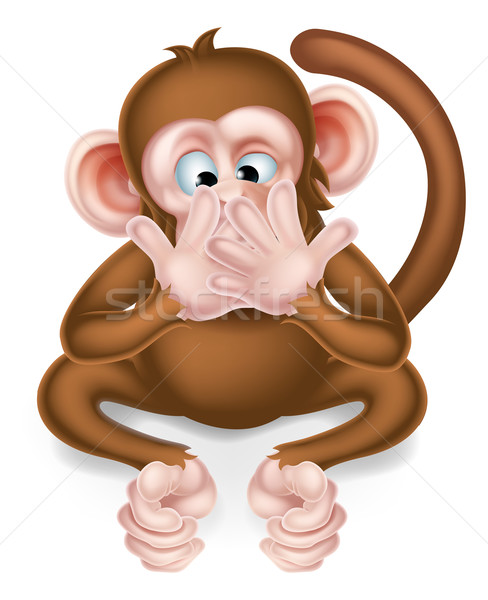 Speak No Evil Cartoon Wise Monkey Stock photo © Krisdog