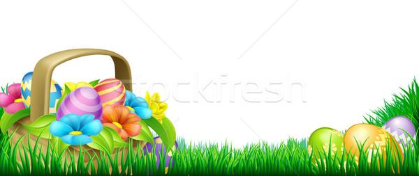 Сток-фото: пасхальных · яиц · корзины · кадр · Пасху · сцена · дизайна