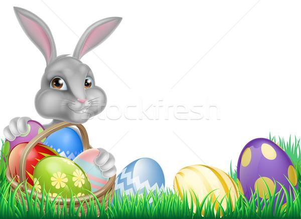 Osterhase Eier legen Karikatur weiß voll Stock foto © Krisdog