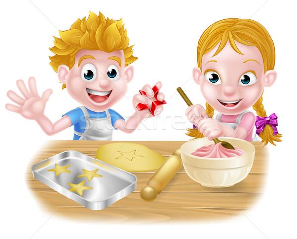 Cartoon Children Baking  Stock photo © Krisdog