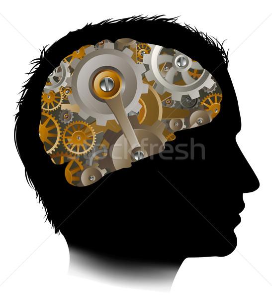 Mann Maschine Zahnräder Zahnräder Gehirn Silhouette Stock foto © Krisdog