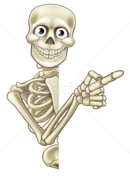 Cartoon Pointing Skeleton Stock photo © Krisdog