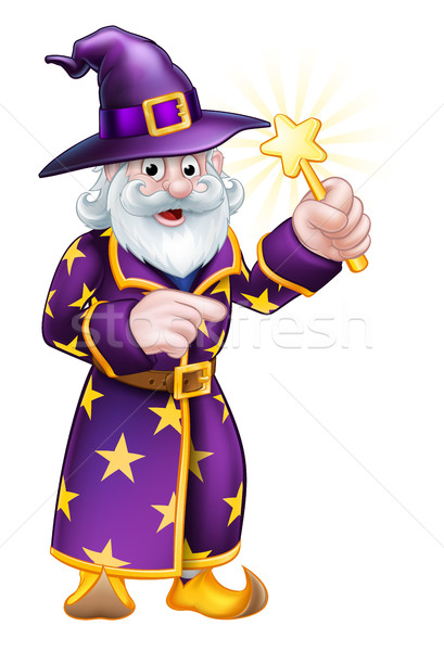 Cartoon Pointing Wizard Stock photo © Krisdog