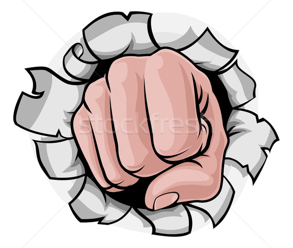 Fist Punching Knuckles Through Background Stock photo © Krisdog