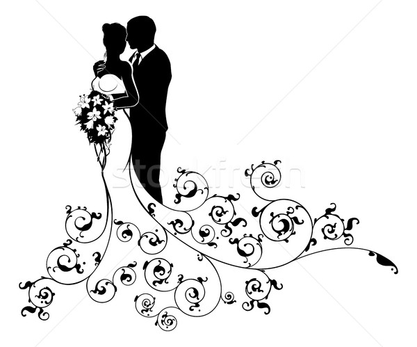 Bride and Groom Couple Wedding Silhouette Abstract Stock photo © Krisdog