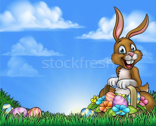 Conejo de Pascua huevos Pascua Cartoon cesta Foto stock © Krisdog